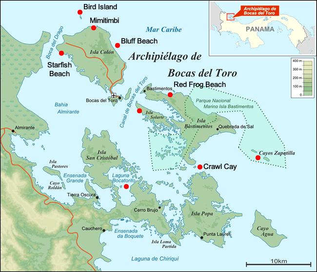 Mappa delle isole dell'arcipelago di Bocas del Toro in Panama con tour in barca si ferma