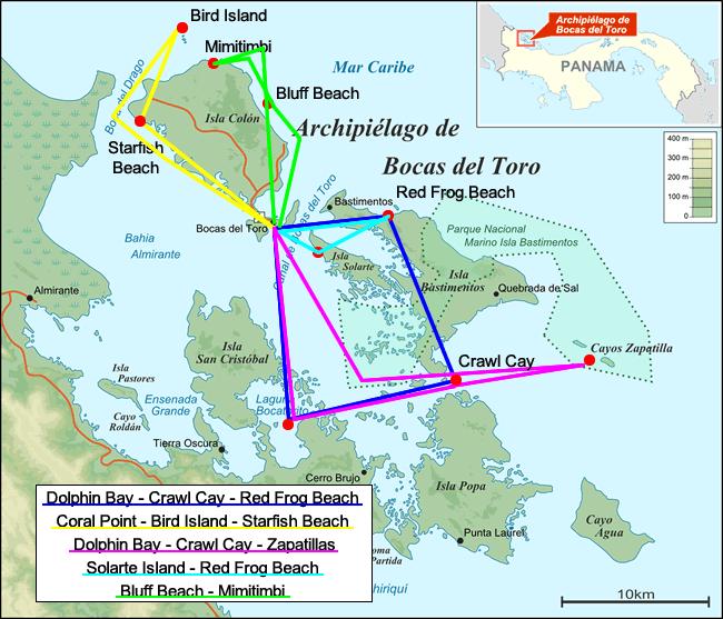 Mappa delle isole dell'arcipelago di Bocas del Toro a Panama con i tour in barca itinerari